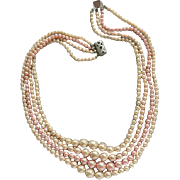 SALE 1950s Classic Pearl Necklace Four Strand Faux Pink Beige Pearl Beads
