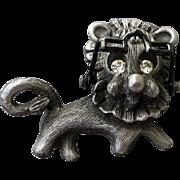 SALE Vintage Lion Wearing Movable Eyeglasses Brooch
