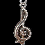 SALE Sterling Silver Musical Treble Clef Charm Bracelet 7 grams