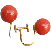 SOLD Vintage 18k Yellow Gold Earrings with Coral Beads European