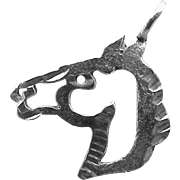 SALE 14k White Gold Bracelet Charm or Pendant Bronco Horse  .5 grams