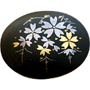 SALE Vintage Japanese Damascene Brooch Silver and Gold
