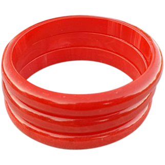SALE Three Bakelite Bangle Bracelets Swirling Shades of Rich Red
