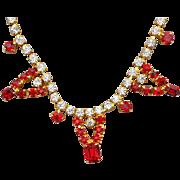 SALE Vintage Rhinestone Necklace Red & Crystal Rhinestone Necklace
