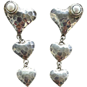 Sterling Silver Triple Heart Pierced Earrings with Real Pearls