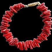 SALE Vintage Red Coral Bead Bracelet 1970s Fabulous Color