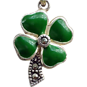 SALE Sterling Silver Charm Necklace With Enamel and Marcasites Four Leaf Clover