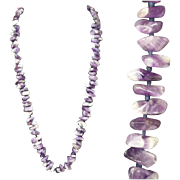SALE Long Tumbled Purple  Amethyst Quartz Bead Necklace Knotted