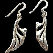 SALE Sterling Silver Earrings Open Work Wings Diamond Cut Accents
