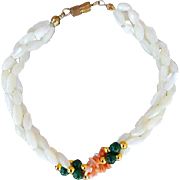 SALE Vintage White and Coral MOP with Jade Colored Beads Mother of Pearl Bead Bracelet