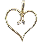SALE 14kt Yellow Gold Heart with Diamonds Pendant or Charm Valentine's Day Special!