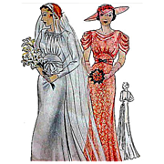 Rare 1930s Vintage Sewing Pattern Wedding Dress Evening Gown Bust 38