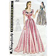 Stunning 1940s Evening Wedding Gown Sewing Pattern Bust 34 Dress