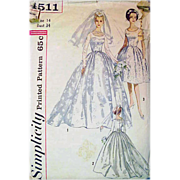 Vintage Sewing Pattern 1960s Wedding Dress Bust 34  Size Medium
