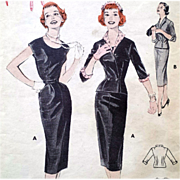Bust 36 Vintage Butterick 7383 Sewing Pattern 1950s Wiggle Dress Fitted Jacket