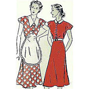 1930s Vintage Sewing Pattern Bust 48 Dress with Apron Rare Size