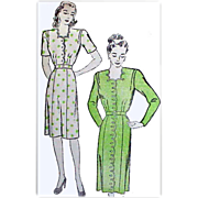 1940's  Sewing Pattern Dress  Bust 34 Variety Va Voom
