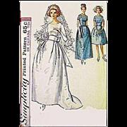 Size Large Vintage Wedding Dress Gown 1960s  Bust 36 Jackie O Mad Men Era