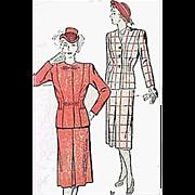 Rare Plus Size 1940s Suit Vintage Sewing Pattern Bust 46