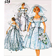 Vintage Wedding Dress Sewing Pattern Evening Gown Size Small Simplicity 3469