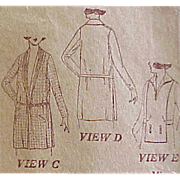 Rare WWI Vintage Sewing Pattern Women's Coats Bust 34 Downton Abbey Era