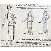 SOLD Antique Dress Suit Bust 34 Sewing Pattern 1919-1923 Butterick 5249