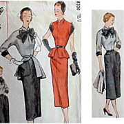 1940s Special Designer Sewing Pattern Peplum Dress Extra Small Simplicity 8330