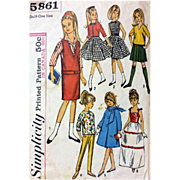 SOLD Vintage 9 inch Skipper Wardrobe Doll Clothes Sewing Pattern Simplicity 5861 - Red Tag Sal