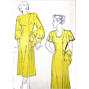Vintage 1940s Cocktail Dress Sewing Pattern Bust 34 Draped Hip Bow