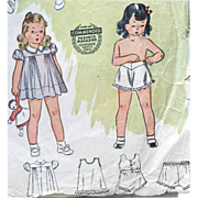 SOLD 1930s Vintage Sewing Pattern Little Girl's Dress Slip Underpants, Step In Size 2
