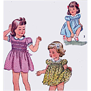 Vintage 1940s Sewing Pattern Little Girls Smocked Dress and Panties Size 4