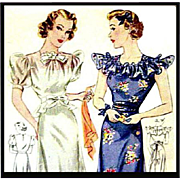 1930s Evening or Wedding Gown Sewing Pattern Bust 36 Simplicity 2294