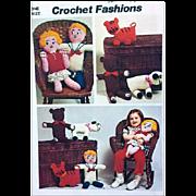 Vintage Toy Crochet Patterns Bear Tiger Lamb Dolls Simplicity Sewing