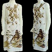 SOLD Dramatic Alfred Shaheen Dress XL Silk Screen Panel Print Fabric Japanese Garden
