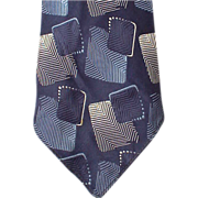 SOLD 1920s to 1930s Vintage Necktie Blue Damask Downton Abbey  Era Neck Tie
