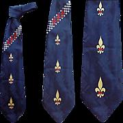 Superb 1950s Vintage Necktie Spun Rayon Neck Tie Royalty All Over