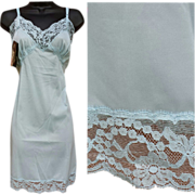 Unworn with tags Vintage Mini Full Slip  Lovely Lace Baby Blue Bust 36