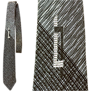 SOLD Fabulous Vintage Narrow Necktie Silk Ombre Black and Gray Silver Metallic