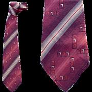 Vintage Necktie 1930s - 1940s Brick Amber Mauve Excellent Gangster Era