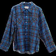 Vintage Extra Large Men's Cotton Plaid Shirt 1970s Mint Unworn