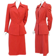 SALE Iconic 1940s Gabardine Suit True Red Size Large - X Large Valentine's Day Red