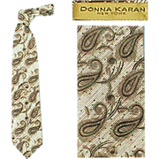 Vintage Wide Necktie Brown Paisley Donna Karan Silk Neck Tie Mint