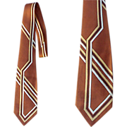 Mid Century Vintage Necktie 1950s - 1960s Brown with Modernist Design