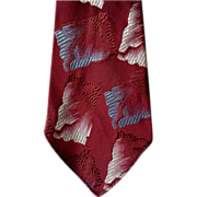SOLD 1930s - 1940s Burgundy Blue Damask Necktie Gangster Depression Era Neck Tie