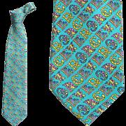 Versace Silk Necktie Turquoise Signature Neck Tie Brilliant Print Tall Man