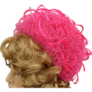 Vintage Christian Dior Fanciful Feathered Hat Shocking Pink for Kentucky Derby
