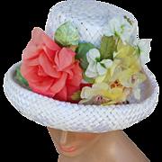 Vintage 1960s White Straw Hat Lavish Coral, White Yellow Flowers
