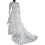 1950s Vintage Wedding Gown Lace Dress 7 Foot Train XS