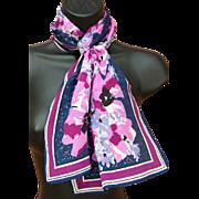 Long Vera Neumann Silk Scarf Purple Lavender Poppies
