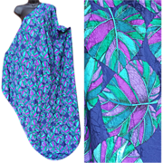SOLD Huge Body Wrap Scarf Silky Damask Purple Blue Turquoise